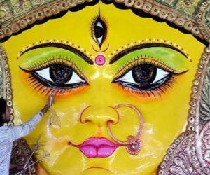 Rompicapo di Capo della dea Durga, un aspetto di Parvati