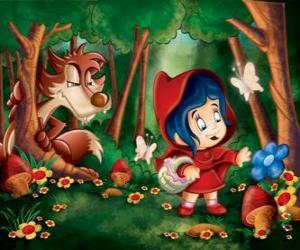 Rompicapo di Cappuccetto rosso nel bosco con il lupo nascosto tra gli alberi