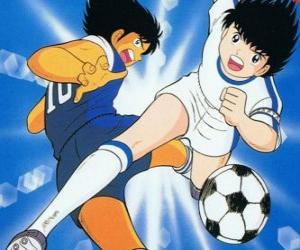 Rompicapo di Captain Tsubasa ad alta velocità, mentre controlla la palla
