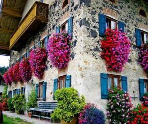 Rompicapo di Casa in primavera con i fiori alle finestre