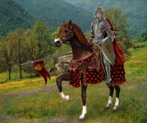 Rompicapo di Cavaliere con casco e armatura e con la sua lancia pronti montato sul suo cavallo