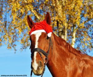 Rompicapo di Cavallo con cappello di Santa Claus