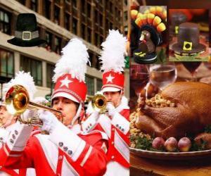 Rompicapo di Celebrazione della Giornata del Ringraziamento con il tacchino tradizionale e tipico cappello Pilgrims. Negli Stati Uniti si tiene il quarto Giovedi nel mese di novembre