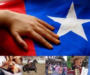 Rompicapo di Celebrazioni patriottiche in Cile. Il diciottesimo del 18 e 19 settembre in ricordo del Cile come stato indipendente