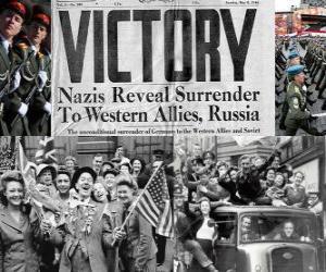 Rompicapo di Che commemora la vittoria alleata sul nazismo e la fine della seconda guerra mondiale. Giorno della Vittoria, 8 MAGGIO 1945
