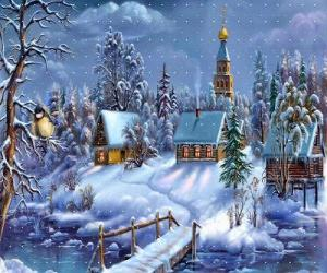 Rompicapo di Chiesa a Natale con il albero sotto le stelle