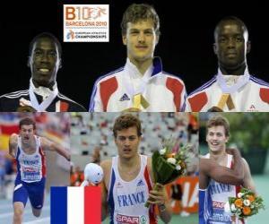 Rompicapo di Christophe Lemaitre campione 200m, Christian Malcolm e Martial Mbandjock (2 ° e 3 °), della atletica leggera Campionati europei di Barcellona 2010