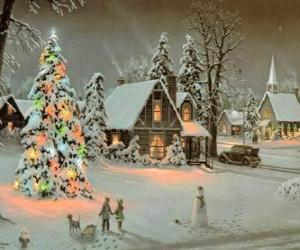 Rompicapo di Cittadina completamente innevata durante li giorni dil Natale