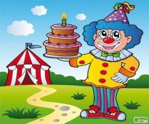 Rompicapo di Clown con una torta di anniversario