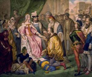 Rompicapo di Colombo a parlare con la regina Isabella I di Castiglia, alla corte di Ferdinando e Isabella