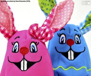Rompicapo di Conigli di Pasqua di stoffa