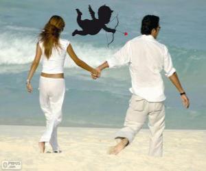 Rompicapo di Coppia in amore, camminando lungo la spiaggia