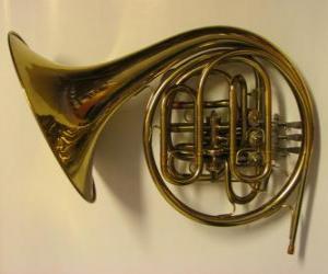 Rompicapo di Corno o corno francese, strumento di ottone