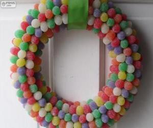 Rompicapo di Corona di Natale di caramelle