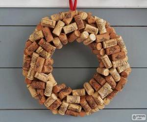 Rompicapo di Corona di Natale fatti con tappi di sughero