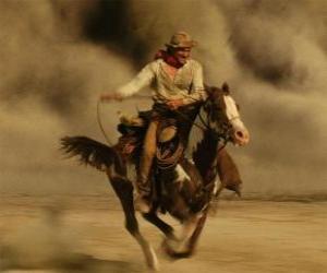 Rompicapo di Cowboy che monta un cavallo