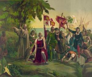 Rompicapo di Cristoforo Colombo con la spada prende possesso di nuove terre