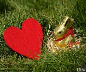 Rompicapo di Cuore e coniglietto di Pasqua