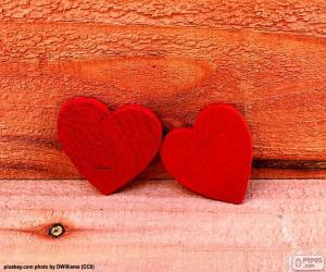 Rompicapo di Cuori di legno rossi