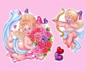 Rompicapo di Cupido con arco e freccia con un altro angelo con un mazzo di fiori tra i cuori