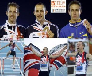 Rompicapo di David Greene campione 400m ostacoli, Rhys Williams e Stanislav Melnykov (2 ° e 3 °) di atletica leggera Campionati europei di Barcellona 2010