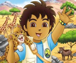 Rompicapo di Diego e Baby Giaguaro che aiutn gli animali in pericolo nella serie Vai Diego