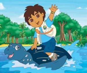 Rompicapo di Diego in mare sul carapace di una tartaruga marina