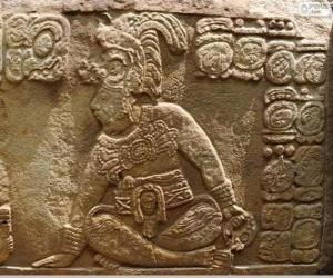 Rompicapo di Disegni Maya scolpita su una pietra
