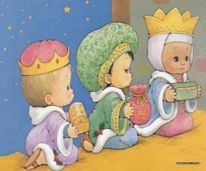 Rompicapo di Disegno di tre bambini vestiti da Re Magi d'Oriente