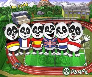 Rompicapo di Diversi Panfu T-shirt panda di alcune squadre nazionali