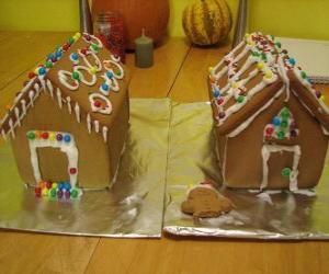 Rompicapo di Dolce e bello ornamento di Natale, due case di marzapane