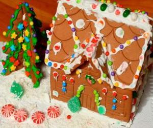 Rompicapo di Dolce e bello ornamento di Natale, una casa di marzapane
