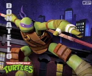 Rompicapo di Donatello, l'arma di questa tartaruga ninja è il lungo bastone giapponese Bo