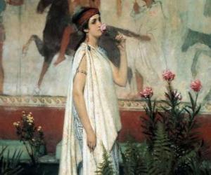 Rompicapo di Donna o signora greca con la sua tunica o chitone