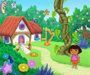 Rompicapo di Dora, accanto a una casa nel bosco