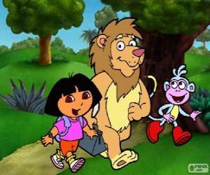 Rompicapo di Dora, Boots e il leone nel parco