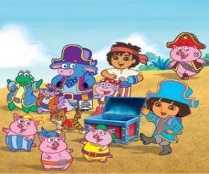 Rompicapo di Dora con i suoi amici a giocare a pirati essere