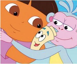Rompicapo di Dora e Boots la scimmia abbracciando Map