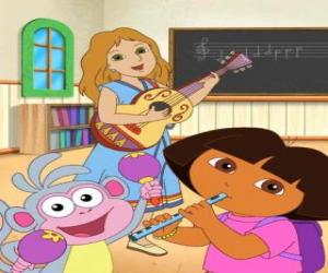 Rompicapo di Dora e Boots la scimmia in una classe di musica