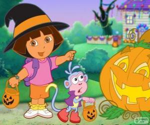 Rompicapo di Dora e la scimmia Boots festeggiare Halloween