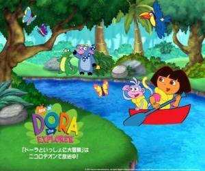 Rompicapo di Dora e la sua amica Boots la Scimmia su una barca