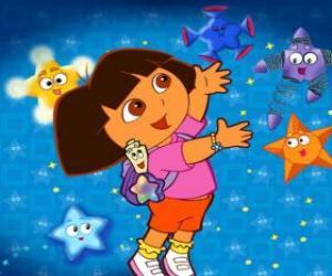 Rompicapo di Dora giocando con alcune stelle