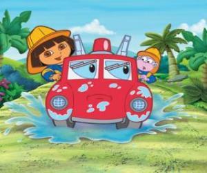 Rompicapo di Dora l'esploratore ragazza accanto alla scimmia Boots, con un motore di fuoco