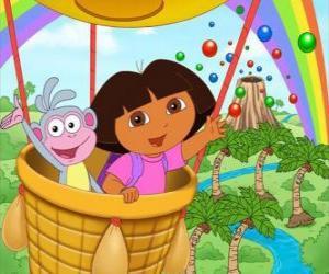 Rompicapo di Dora l'esploratrice e la sua amica scimmia Boots in mongolfiera