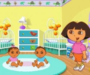 Rompicapo di Dora l'esploratrice prendersi cura di due bambini