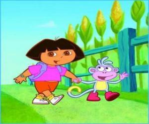Rompicapo di Dora, la ragazza esploratrice, accanto alla scimmia Boots esplorando