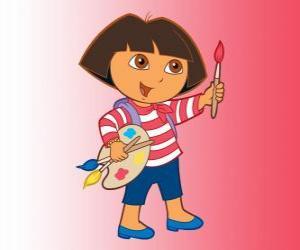 Rompicapo di Dora l'esploratrice con il pennello e la tavolozza dei colori
