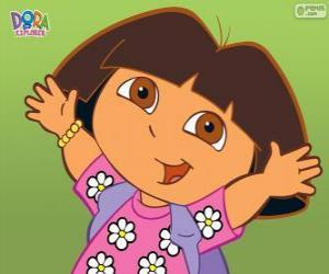 Rompicapo di Dora l'esploratrice con una camicia con i fiori