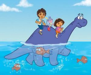Rompicapo di Dora, suo cugino Diego, la scimmia Boots attraversare un lago sulla cima di un dinosauro