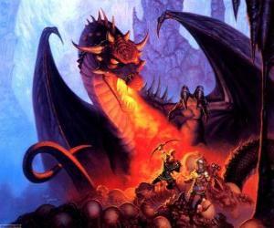Rompicapo di Drago lanciando fuoco per  la bocca